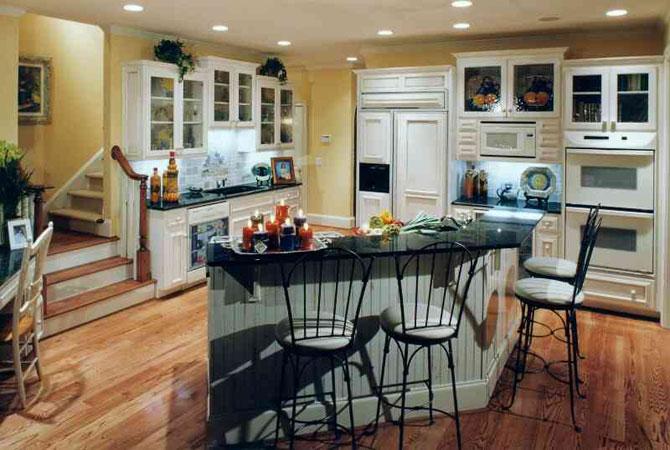 дизайн квартиры кухня совмещена с залом