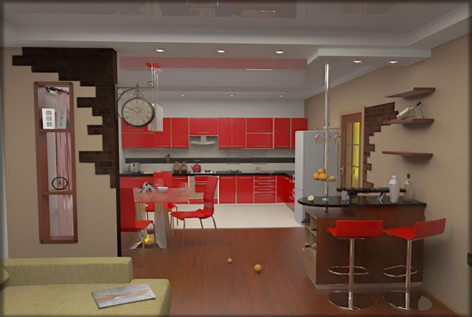 дизайн кухни 1комнатной квартиры