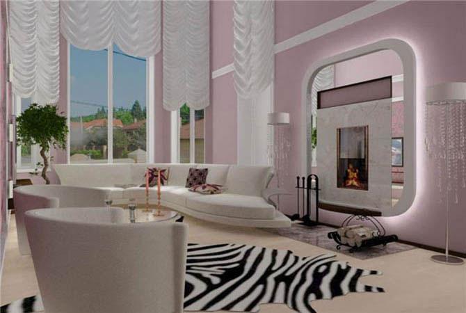 интерьер квартиры с камином